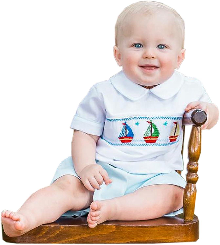 Carouselwear Boys Smocked Sailboat Shirt and Short Summer Set