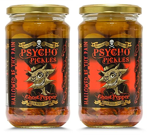 Set Of 2 Psycho Onions Ghost Pepper Naga Pickled Onions 450g Jar