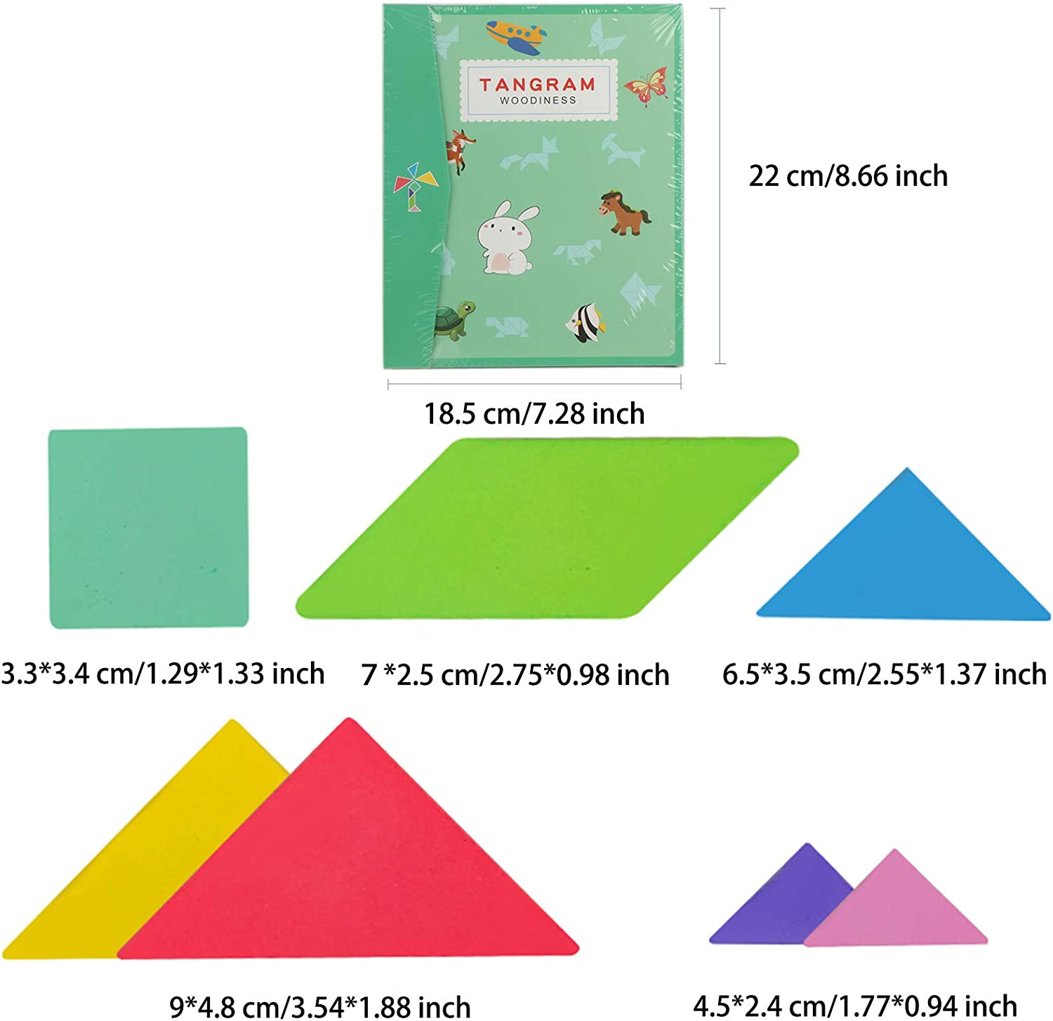 Travel Games for Early Education and Intellectual Development Wooden Tangram Puzzle Book Toys Boys Girls Gift Green HOOKTHER Wooden Pattern Tangram Magnetic Puzzle