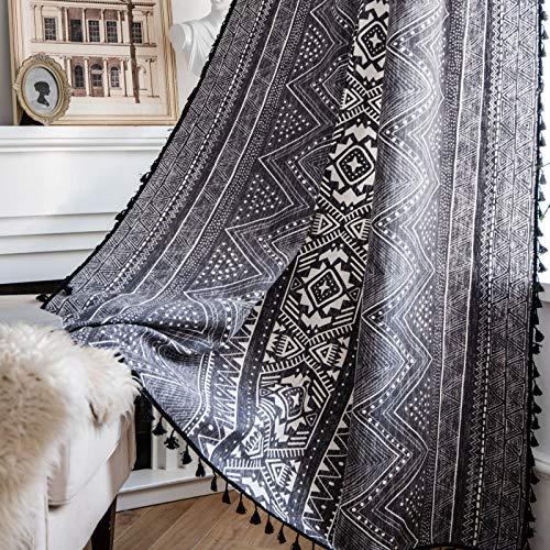 tende soggiorno new york YUNSW Tende con Stampa Geometrica Nera Tende Decorative per Soggiorno Bohémien Cucina Camera da Letto Tende Opache 1 Pezzo