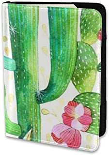 ENJOYG Watercolor Cactus Pattern Passport Holder Travel Wallet 6.5 Inch Ecological Dermis Fabric Card Case Cover,for Man & Women Travel Time