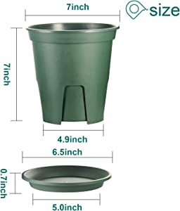 Plant Pots Indoor 7 Inch,EHWINE 12 Set Plastic Flower Planters with Drainage Hole and Trayr Garden Planters