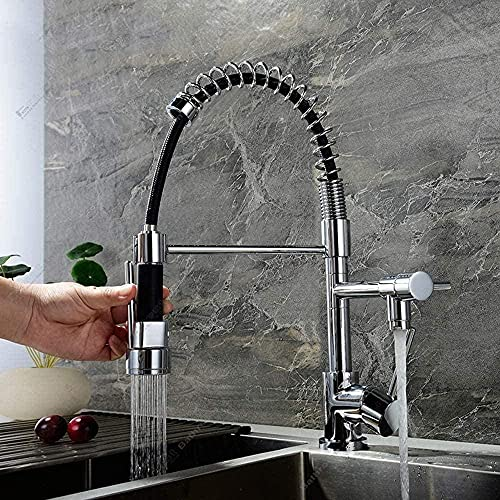 Kitchen Sink Fully Copper Pull-Out Dual Function Water Purifier Faucet hot and Cold Water Rotary tap