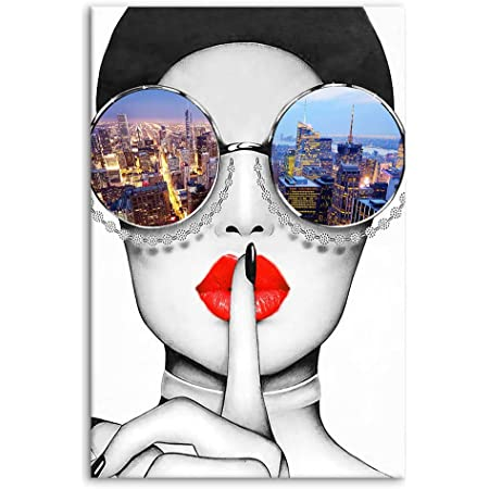 Neon Red Lips Modern Canvas Giclee Print Unframed Picture Home Decor Wall Art 2
