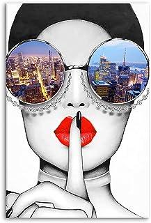 Modern Fashion Women Art Print Contemporary Wall Art Red Lip Canvas Prints Stylish..