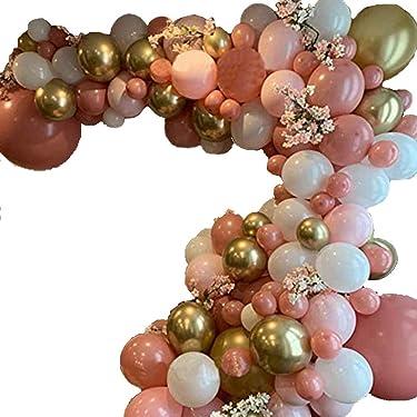CASTELBELBO Balloon DIY Balloon Garland Kit & Balloon Arch, Party Supplies Decorations, 16 Feet Long Decorating Strip, Premium Ballons, Peach Blush, Rose Gold, Chrome Gold, White, Pearl SM XL (110)