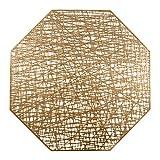 U'Artlines Octagonal Placemats Hollow Out Mats Vinyl Non-Slip Heat Insulation Kitchen Table Mats(Octagonal Gold, 6pcs)