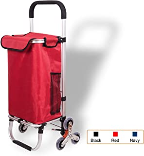 Djyyh Outdoor Aluminum Folding Shopping Trolley Cart with Wheels (Color : Red, Size : 6-Wheels)