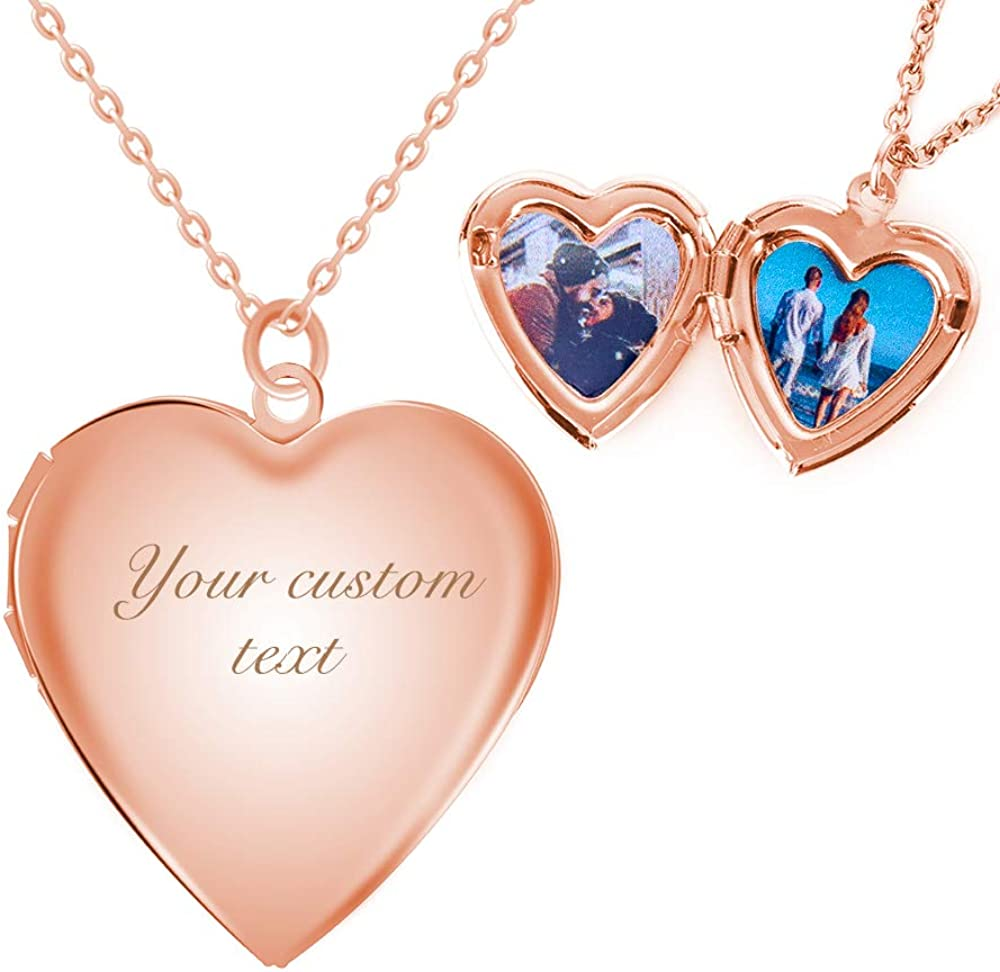 Fanery sue Personalized Engraved Text&Photo Locket That Holds 2 Picture Inside Heart-Shape Women Necklace Floating Memorial Small Pendants