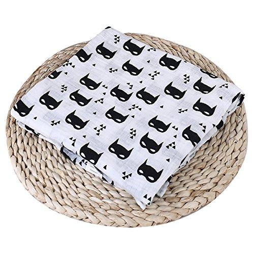 Borlai Manta de muselina cuadrada de algodón suave, regalo para bebés y niñas (murciélago)