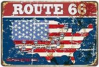 ルート66アメリカ地図フラグヴィンテージ金属ブリキ看板レトロポスター壁の装飾
