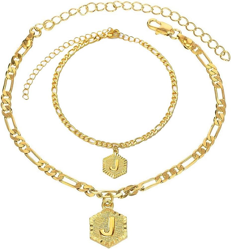 Gold Initial Pendant Necklace Letter Bracelet Anklet Figaro Link Chain Bracelet Tiny Hexagon Monogram Jewelry Set