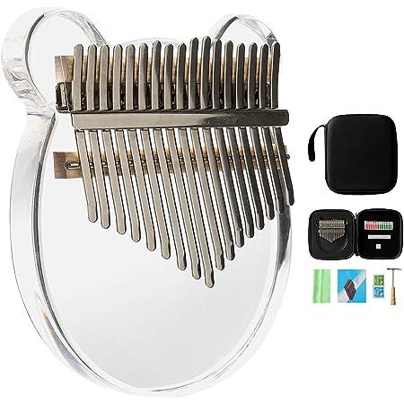 instrumento musical regalo para ni/ños adultos Arco iris Kalimba 17 teclas pulgar piano acr/ílico transparente Mbira madera dedo piano