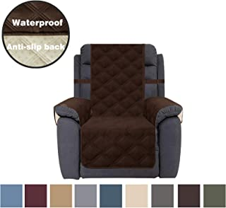 CHHKON Sofa Cover Waterproof with Anti-Skip Dog Paw Print 100% Quilted Furniture Protector Sofa Slipcover for Children, Pets for Leather Couch (Chocolate, Recliner)