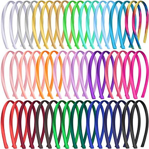 Duufin 50 Stück Haarreifen Damen 1cm Haarreifen Satin für Damen und Mädchen, 25 Farben