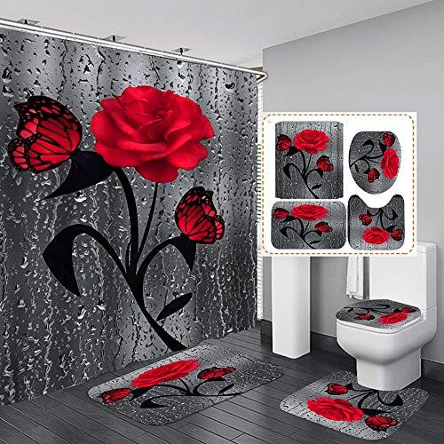 Hankyky 4 STK. Blumenduschvorhang-Sets mit rutschfesten Teppichen, Toilettendeckel und Badematte, Rose Flower Regentropfen-Duschvorhang mit 12 Haken, wasserdichter Stoff-Duschvorhang Badezimmerdekor