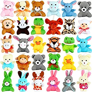 32 Pack Mini Animal Plush Toy Party Favors,Small Plush Stuffed Animals for Birthday,Theme Party,Easter Basket Stuffers Fillers,Christmas,Classroom Prize,Kids Valentine Gift