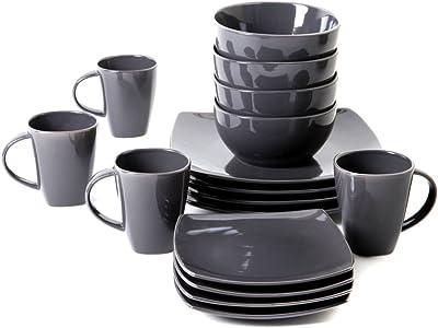 Amazon.com: Juego de vajilla de cerámica de 16 piezas para 4 ...