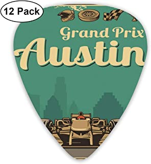 Celluloid Guitar Picks - 12 Pack,Abstract Art Colorful Designs,Grand Prix Texas Racing Sports Car Cup Helmet Finish Sign Wheel Champagne Design,For Bass Electric & Acoustic Guitars.