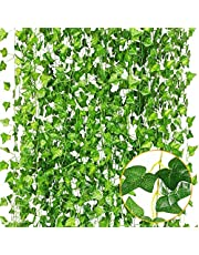 Plantas Artificiales,Hiedra Vides Artificiales,Falso lvy Hiedra Falsa Hojas Colgando Vegetación Guirnalda Planta de Vid,para Pared Cestas Colgantes de Interior Decoración de guirnaldas de Boda Jardín Decoración de la Pared
