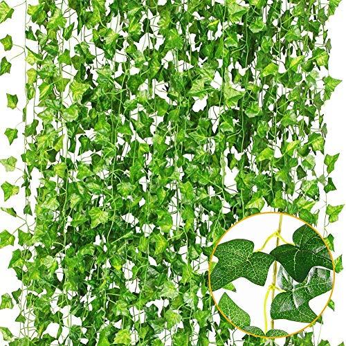 Plantas Artificiales,Hiedra Vides Artificiales,Falso lvy Hiedra Falsa Hojas Colgando Vegetación Guirnalda Planta de Vid,para Pared...