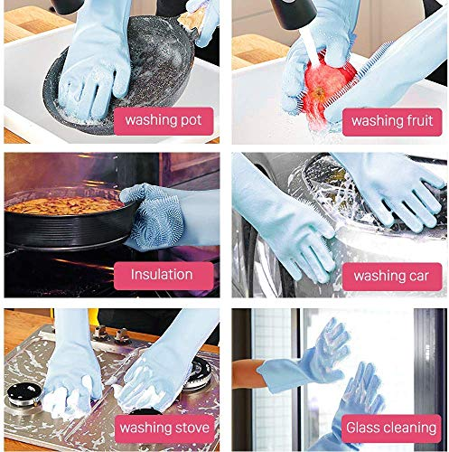 Product Image 6: ANZOEE Reusable Silicone Dishwashing Gloves, Pair of Rubber Scrubbing Gloves for Dishes, Wash Cleaning Gloves with Sponge Scrubbers for Washing Kitchen, Bathroom, Car and More (Blue)