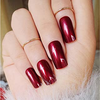 Specular Reflection Vampire Wine Red False Nails 24pcs Square Long Solid Nail Tips with Glue Sticker New Nail Art Decor