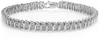 Dazzlingrock Collection 0.50 Carat (ctw) Real Round Cut Diamond Ladies Tennis Bracelet, Sterling Silver