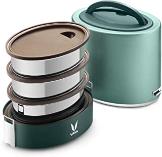 VAYA TYFFYN Green Polished Stainless Steel Lunch Box Without Bagmat, 1000 ml, 3 Containers, Green