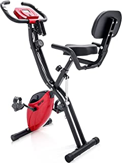 Merax Folding 3 in 1 Adjustable Exercise Bike Convertible Magnetic Upright Recumbent Bike with Arm Bands