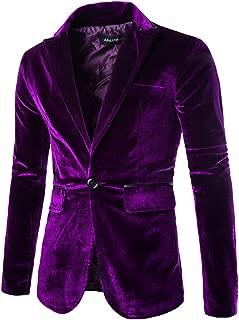 Men's Slim Fit Peaked Lapel 1 Button Velvet Blazer Jacket