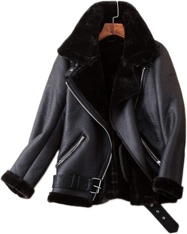 LY VAREY LIN Women's Faux Shearing Moto Jacket Thick Lined Parka Winter Shearling Coat Leather Jacket