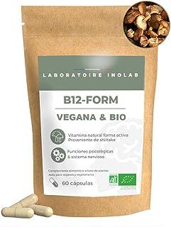 Vitamina B12 orgánica altamente asimilable | 3 formas naturales veganas orgánicas activas Metilcobalamina Adenosilcobalamina Hidroxocobalamina| Sin aditivos| 60 cápsulas.