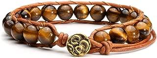 Leather Chakra Beads Wrap Bracelets Handmade Bohemian Woven Natural Healing Crystal Stones Bracelet Adjustable
