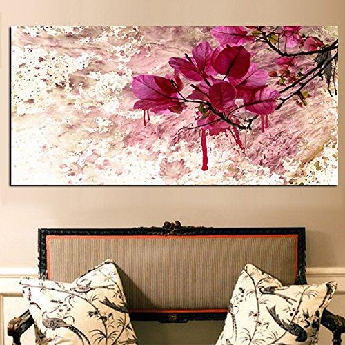 xinyouzhihi Rote Blume Pflanze drucken Poster Leinwand Bilder Zusammenfassung Ölgemälde auf Leinwand Wandkunst Home Decoration Wand 60x120cm Kein Rahmen