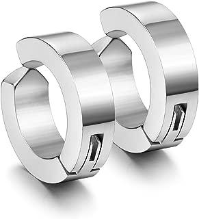 Stainless Steel Mens Womens Clip On Earrings Hoop Huggie Non-Piercing Hypoallergenic