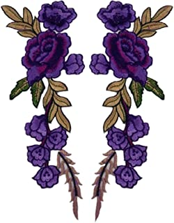 Ximkee 1 Pair Rose Sew Iron on Applique Embroidered Patches-Purple
