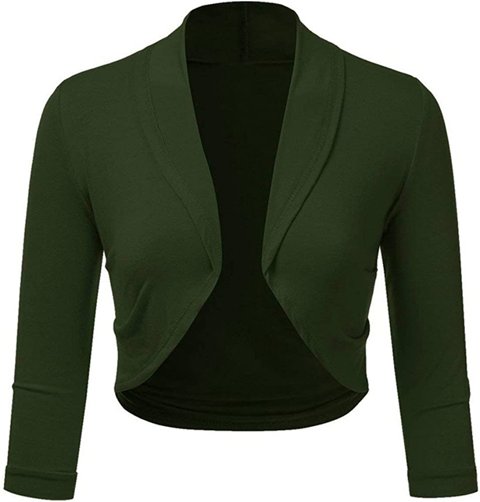 Women Plus Size Solid Bolero Shrug Open Front Cropped Mini Office Work Cardigan