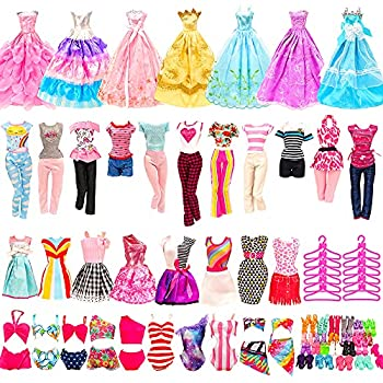 BARWA 36 Pack Doll Clothes and Accessories 5 PCS Fashion Dresses 5 Tops 5 Pants Outfits 3 PCS Wedding Gown Dresses 3 Sets Swimsuits Bikini for 10 Hangers 10shoes 11.5 inch Doll