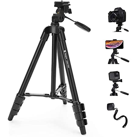 """Fotopro Camera Tripod Stand, 48"""" Phone Tripod with 3-Way Head, Lightweight Aluminum Tripod for iPhone, Samsung, 1/4'' Screw Travel Tripod with Wireless Remote for DSLR Camera, Canon, Sony, Nikon"""