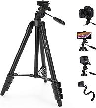 Fotopro - Trípode para cámara (48 pulgadas, cabezal de 3 vías, trípode de aluminio ligero para iPhone, Samsung, trípode de viaje de tornillo de 1/4 pulgadas, con mando a distancia Bluetooth para cámara DSLR, Canon, Sony, Nikon)