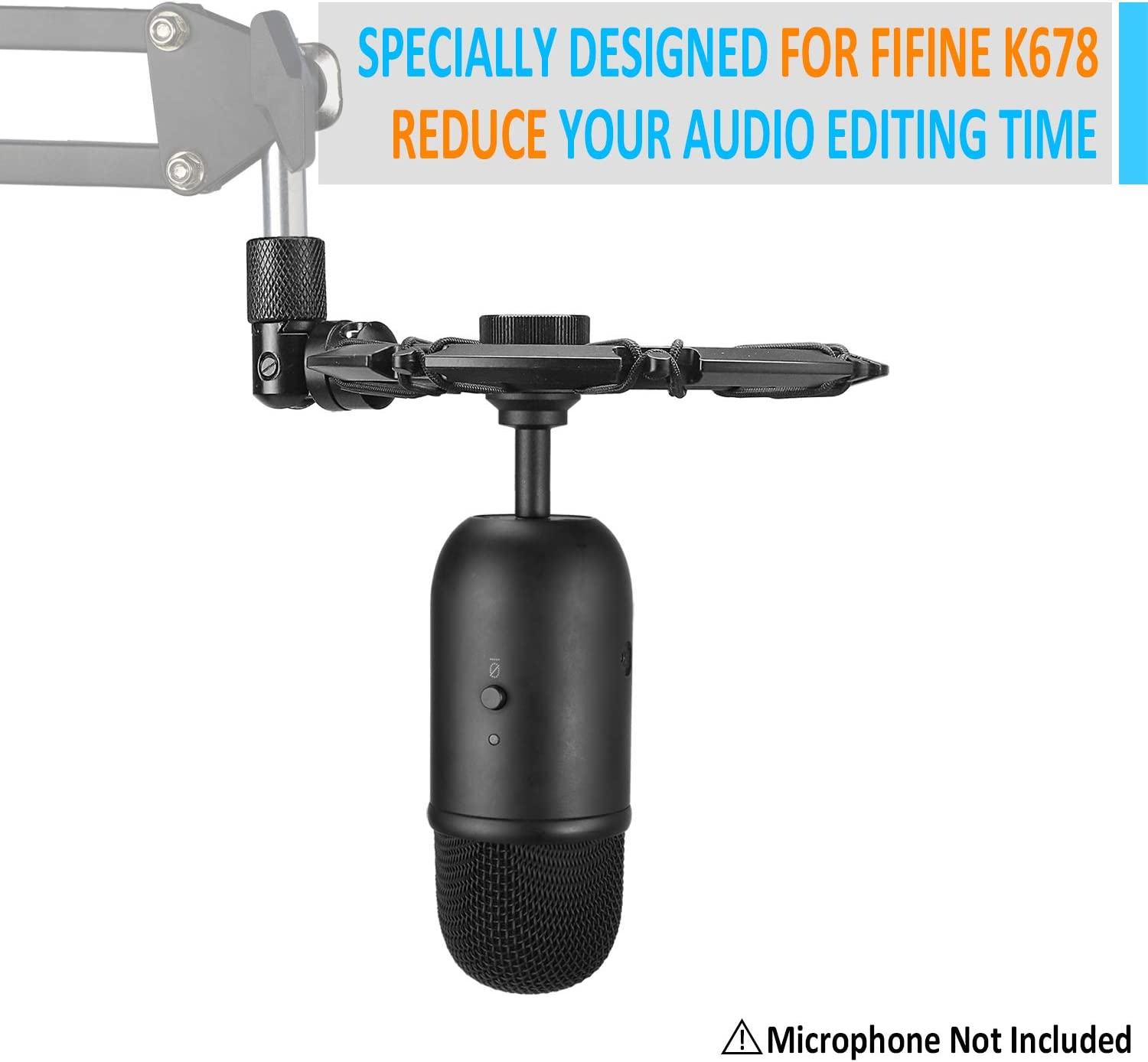 Compatible for FIFINE K678 Microphone by YOUSHARES Shockmount Reduces Vibration Noise Matching Mic Boom Arm Stand FIFINE K678 Shock Mount