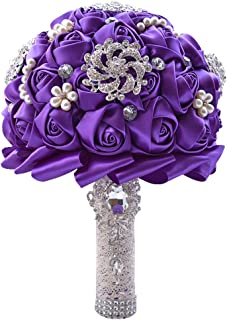 Wedding Bouquets for Bride, Amoleya 7.8 Inch Handmade Bridal Bouquet Bridesmaid Bouquet of Satin Flower Roses with Bling Rhinestones(Purple)