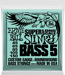 Ernie Ball 5-String Super-Long Scale Slinky Bass Set, .045 - .130