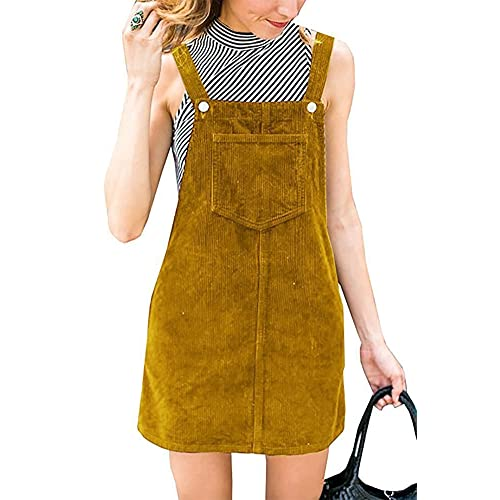 ddb71b2621 Annystore Womens Corduroy Suspender Skirt Mini Bib Overall Pinafore Dress  with Pocket