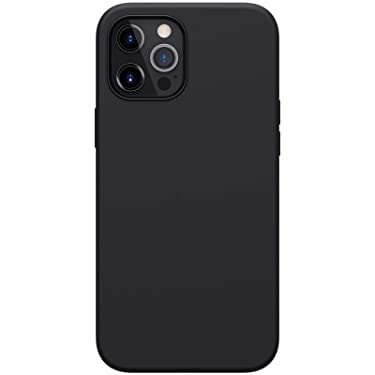 """Nillkin Case for Apple iPhone 12 Pro Max (6.7"""" Inch) Flex Pure Pro Magsafe Cover Case Liquid Silicon Magnetic Function Anti Finger Print with Inner Microfibre Black Color"""