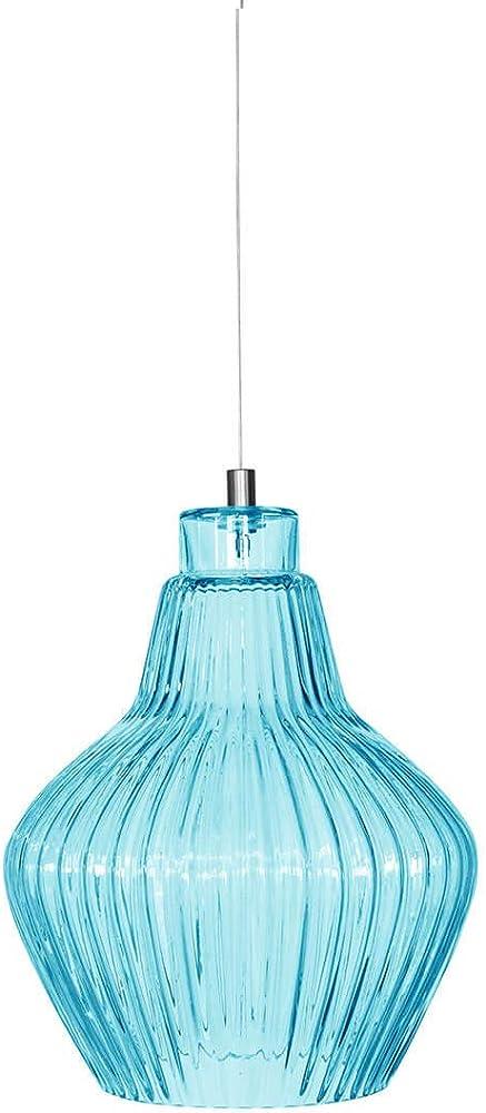 Karman ceraunavolta, lampada a sospensione ,a forma l, in vetro azzurro tiffany SE1355T INT