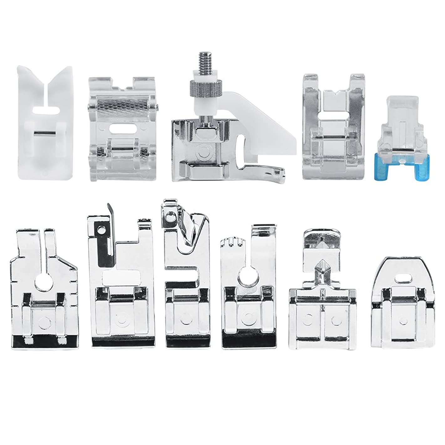 11pcs/Set Household Sewing Machine Parts Quilting Zipper Walking Foot Presser Feet Kit Multifunctional Household Quilting Parts Crafts Sewing