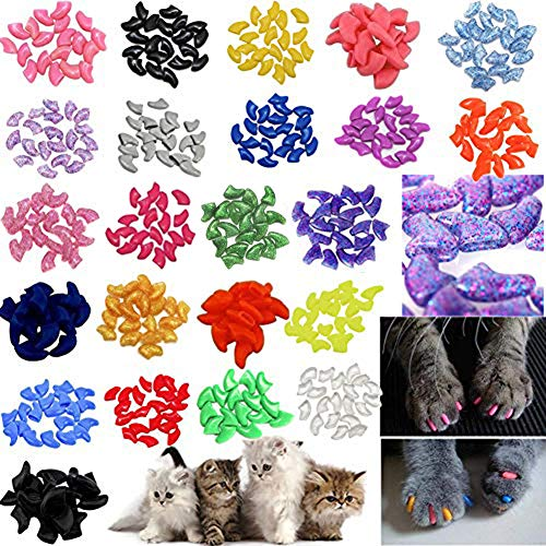 JOYJULY 140pcs Pet Cat Kitty Soft Claws Caps Control Soft Paws of 4 Glitter Colors, 10 Colorful Cat...