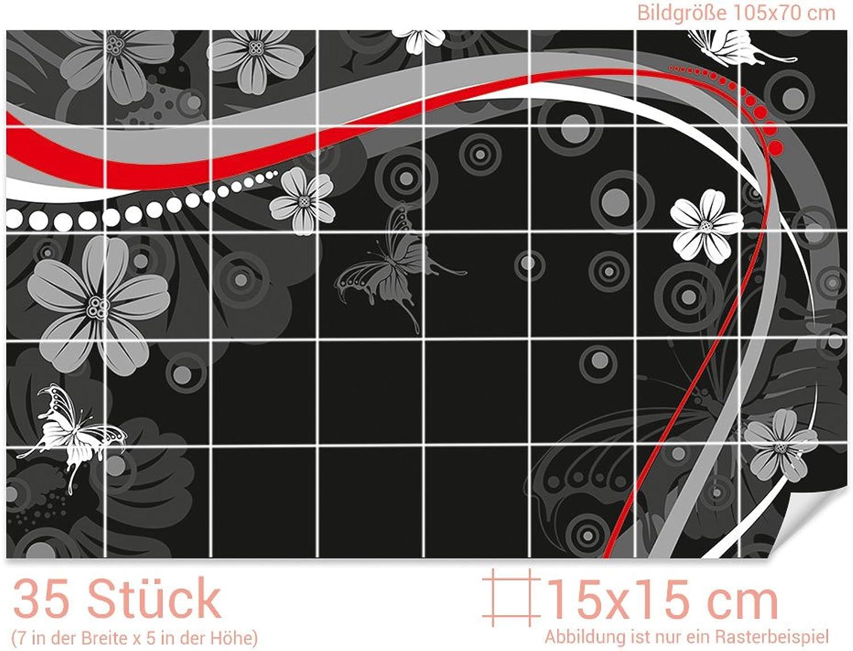 GRAZDesign Klebefliesen Klebefliesen Klebefliesen glänzende Folie - Fliesenbilder selbstklebend Retro - Fliesenfolie Ornamente - Fliesenaufkleber Küche schwarz - rot   15x15cm (BxH)   766186_15x15_70 B07CS4LYFK ef1cd1